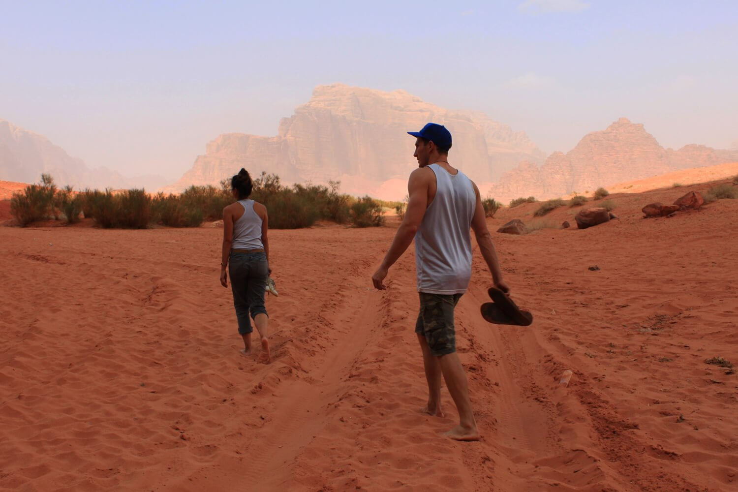 Chris and Kim walking in the desert in Jordan.