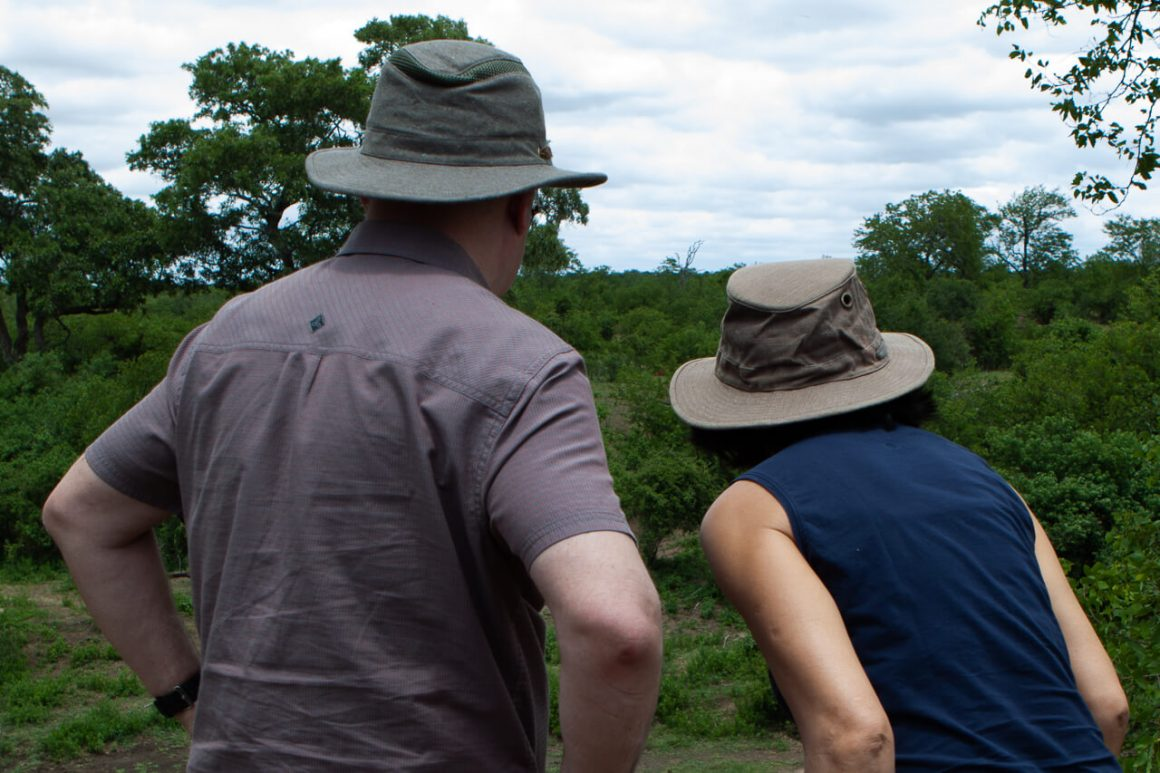 Kim's parents on the lookout in their safari hats.