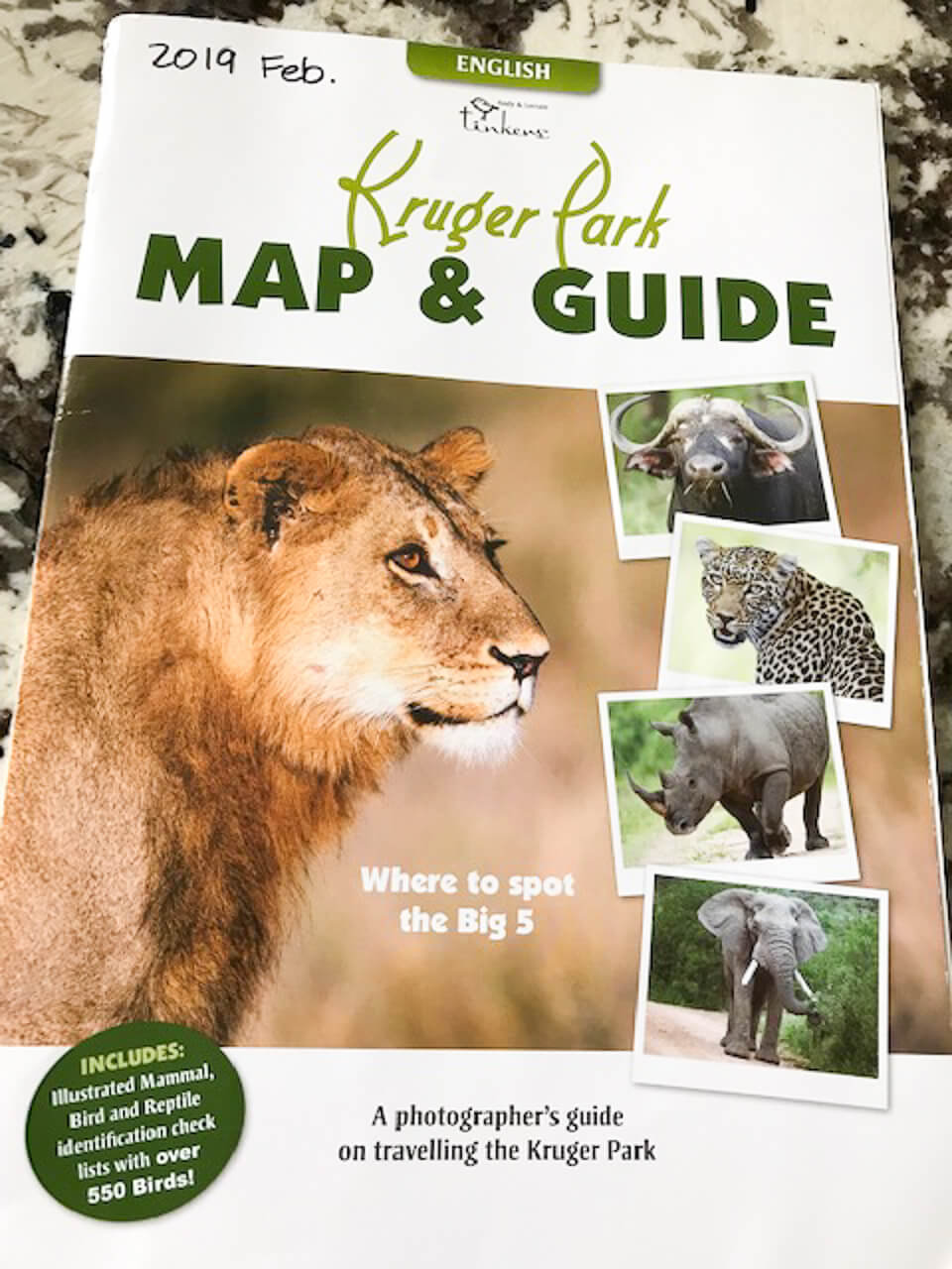 Kruger Park map and guide cover.