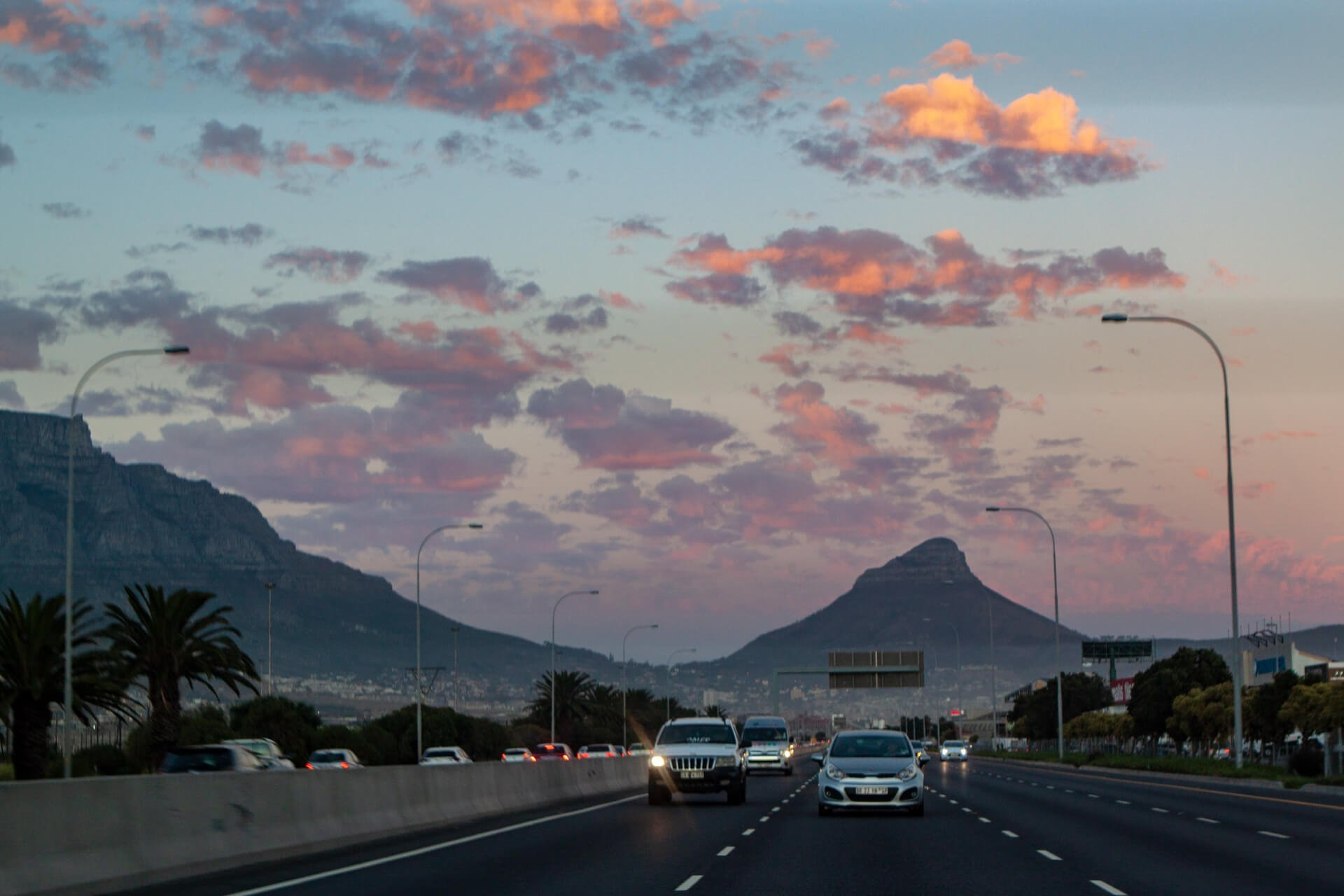 Driving on the highway out of Cape Town