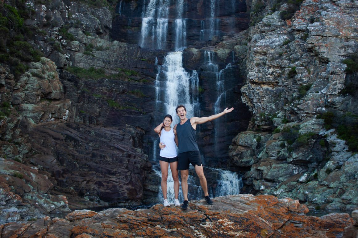 Chris and Kim in front of the waterfalls in Tsitsikamma national park on the Garden Route in South Africa