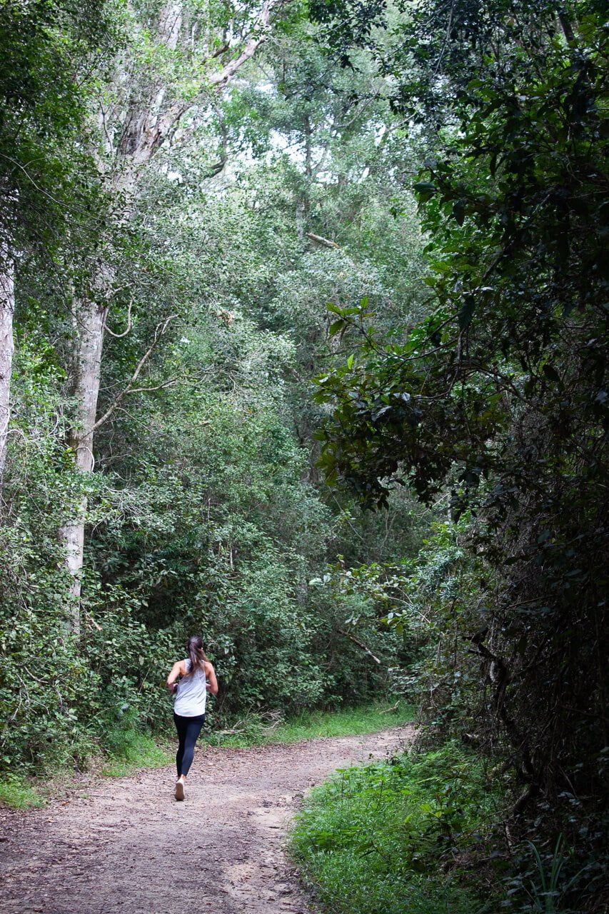 Kim running in Knysna, South Africa.