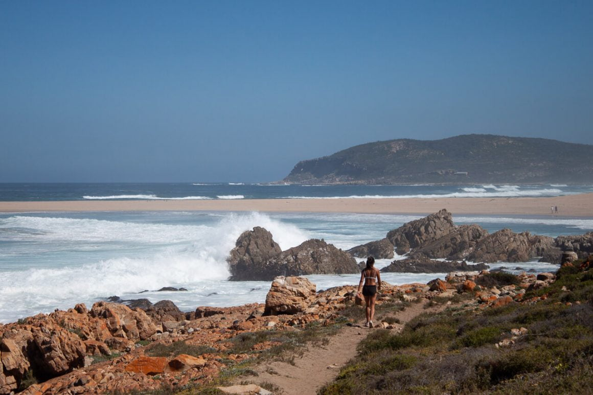 Kim walking towards beach in Robberg.