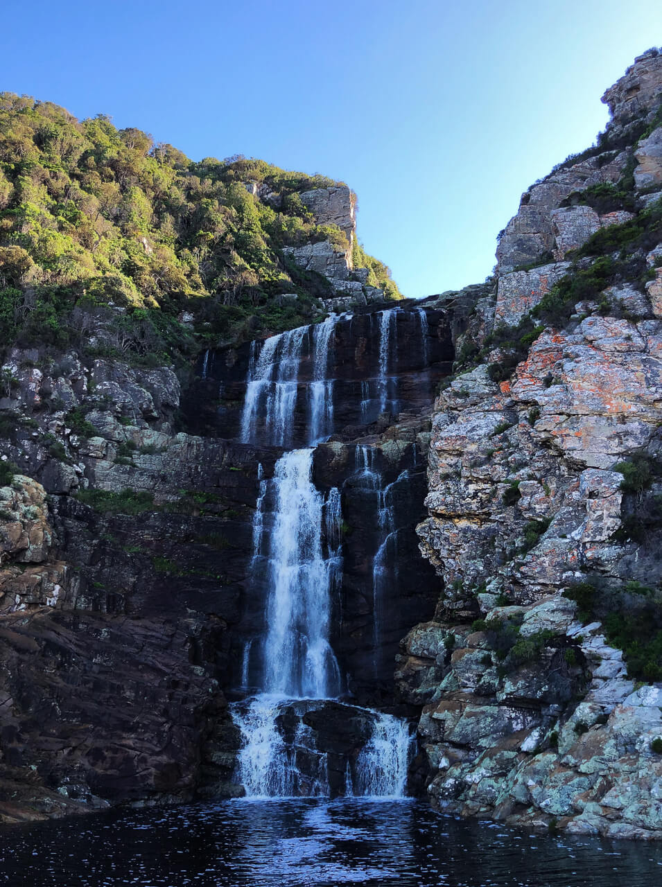 The waterfall at the end of the waterfall hike in Storms River in Tsitsikamma National Park