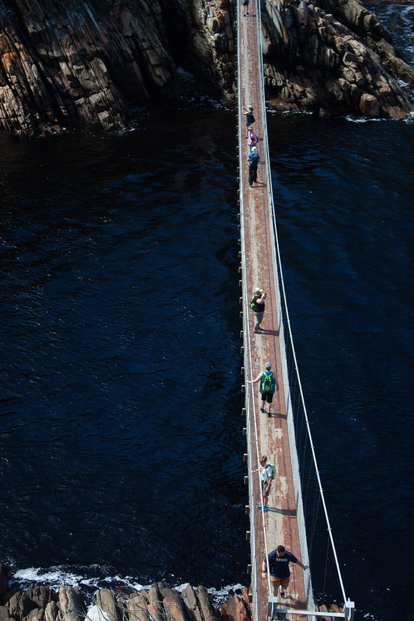 Perspective shot of the suspension bridge in Storms River