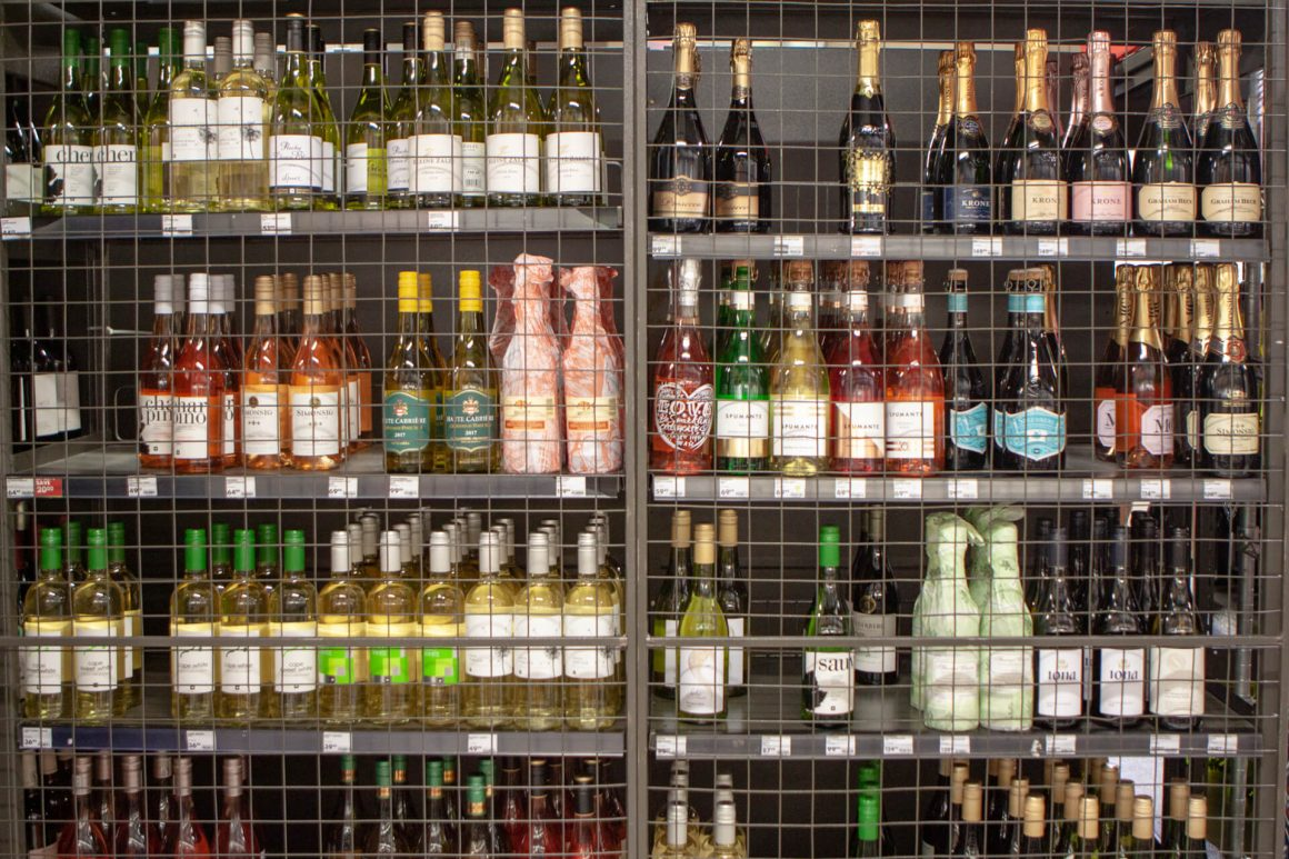 Locked off wine at Cape Town supermarket