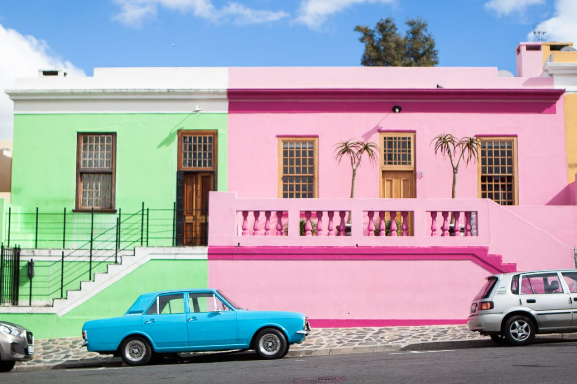 Famous colorful bokaap buildings in Cape Town