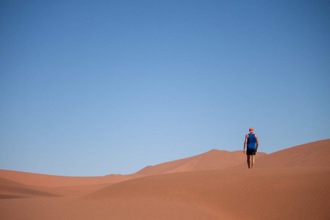 Chris walking towards Dead Vlei in Sossusvlei, Namibia