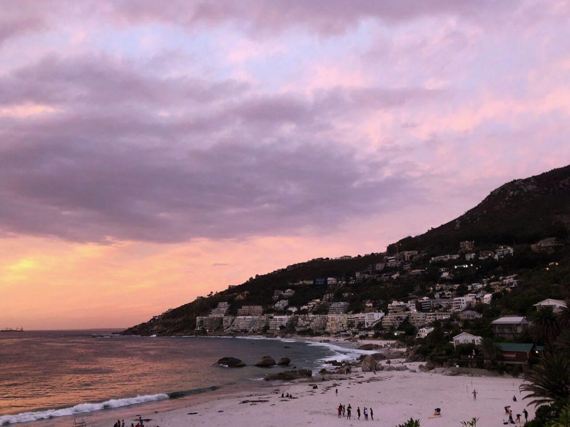 Clifton beach at sunset.