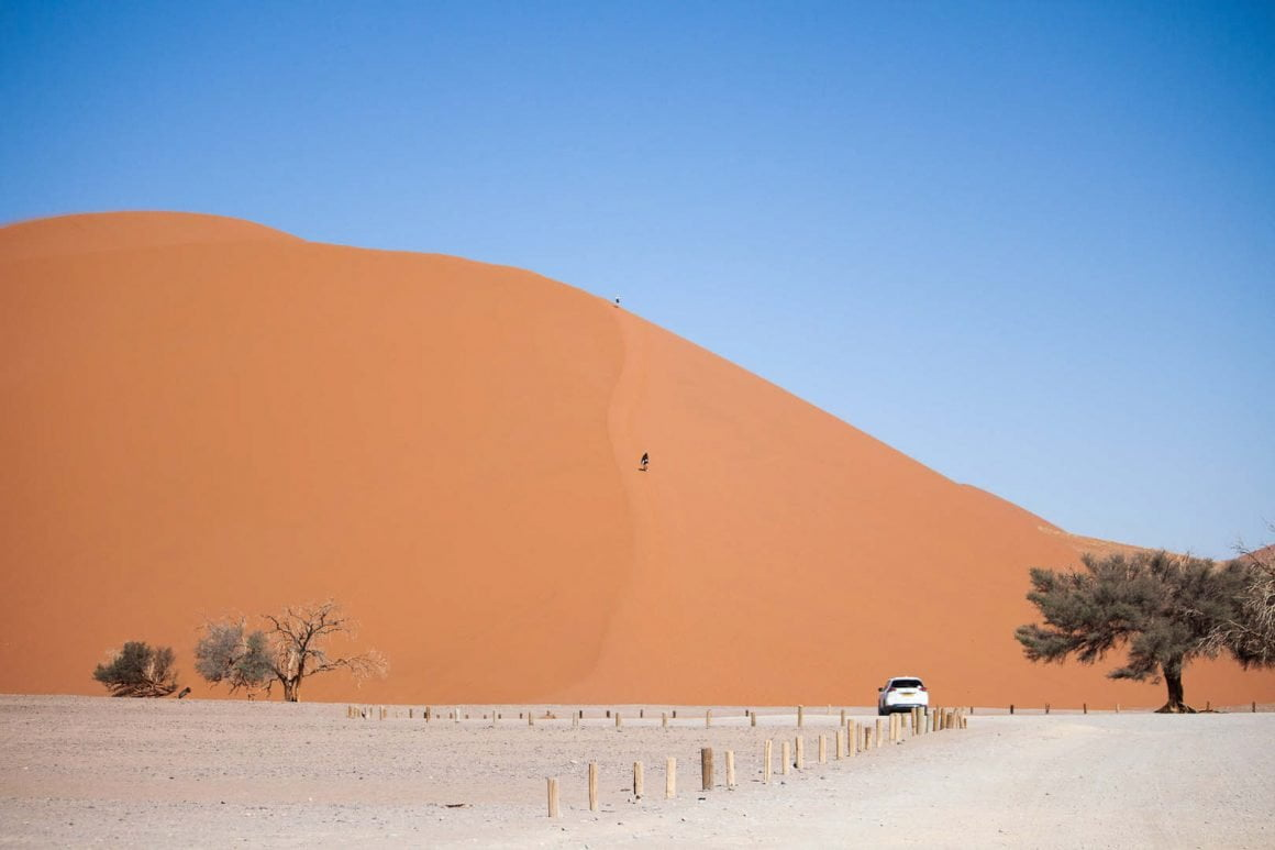 Contrasting red sand from Dune 45 and blue skies in Sossusvlei