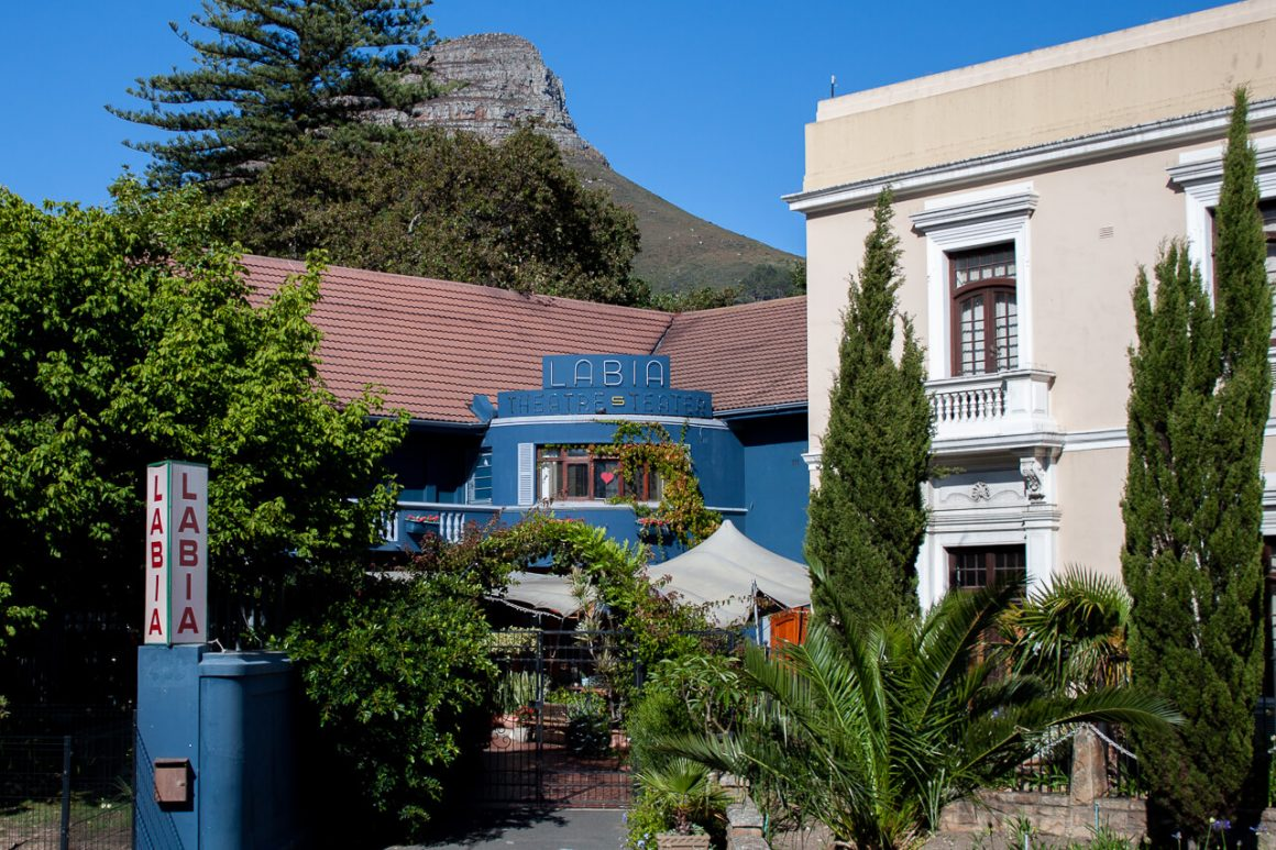 The Labia Theatre with Lion's Head mountain in the background.