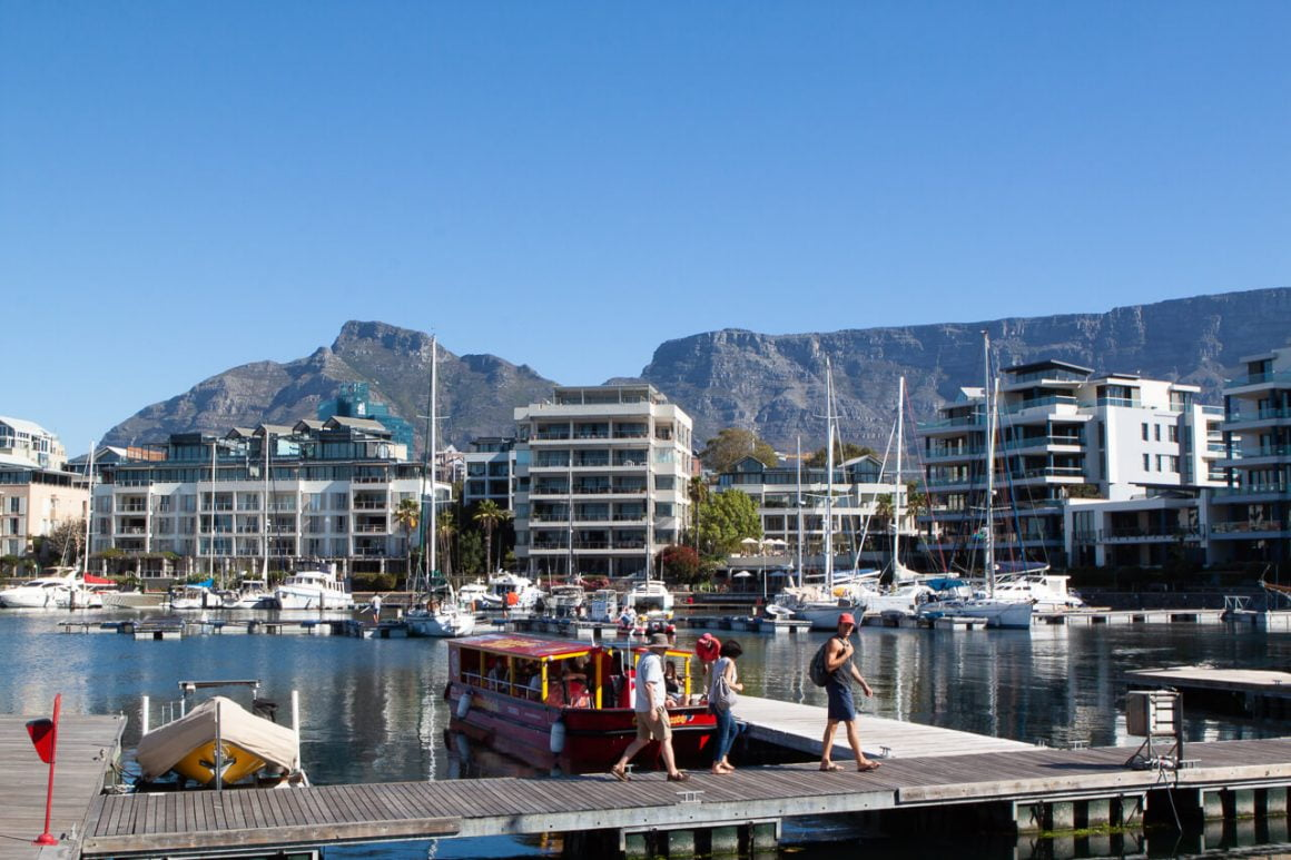 Harbor at V&A Waterfront with Table Mountain and Devil's Peak in the background.