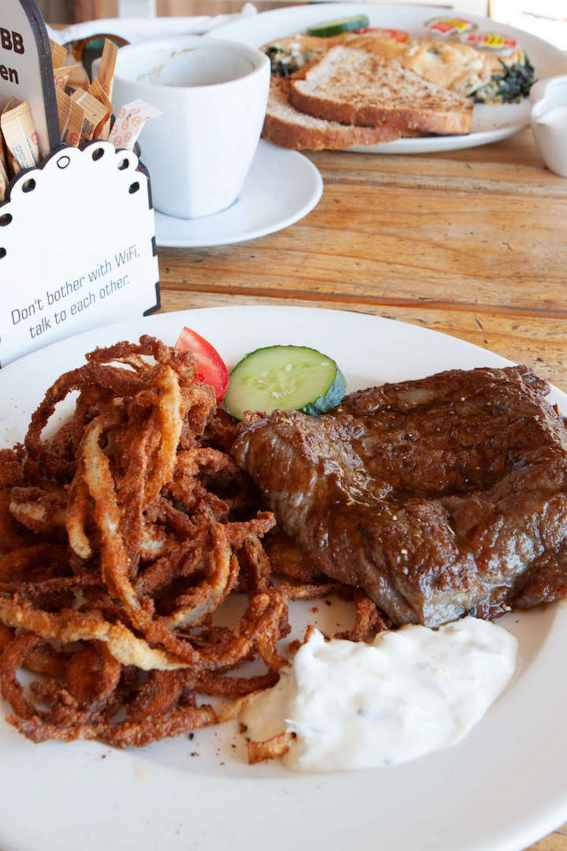 A hearty zebra steak and onion rings for lunch enroute to Etosha National Park