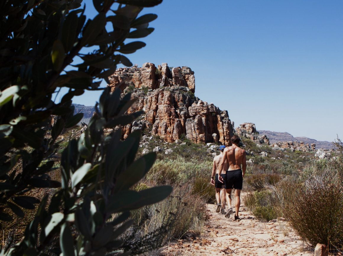 Group walking in the Cederberg Mountains in South Africa