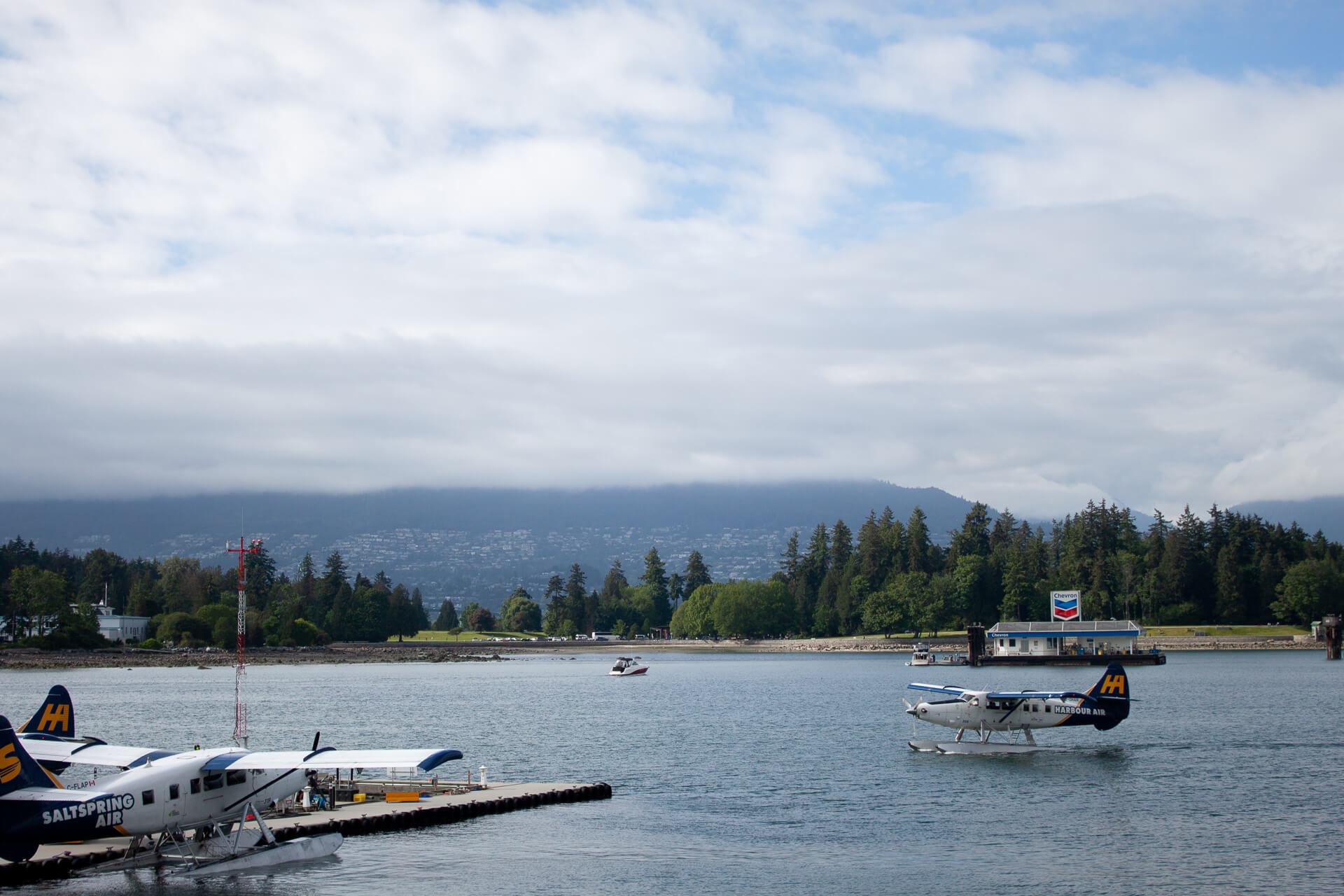 Seaplanes taking off in Coal Harbour in Vancouver.