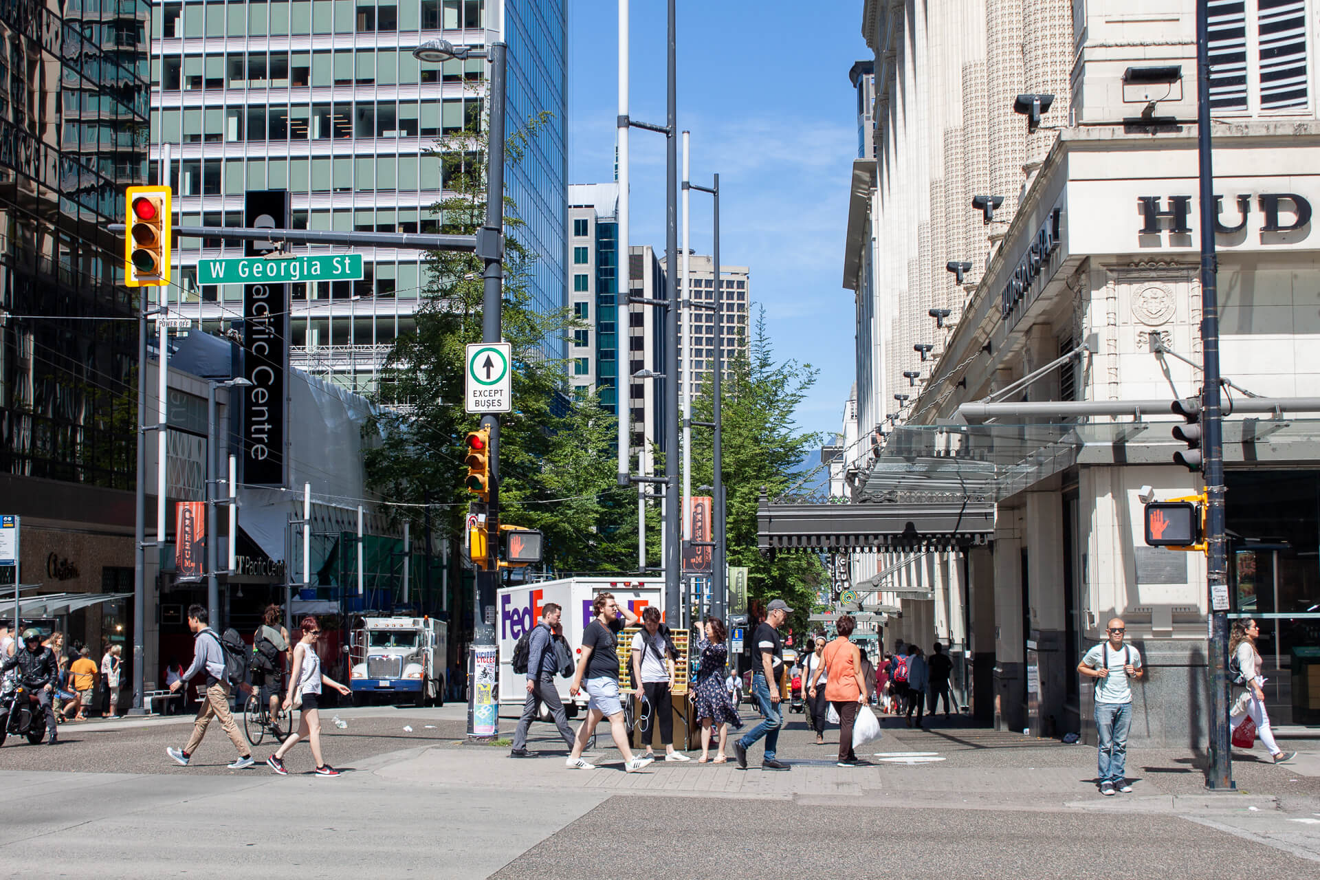 Mid-day bustle in Vancouver's downtown central business district.