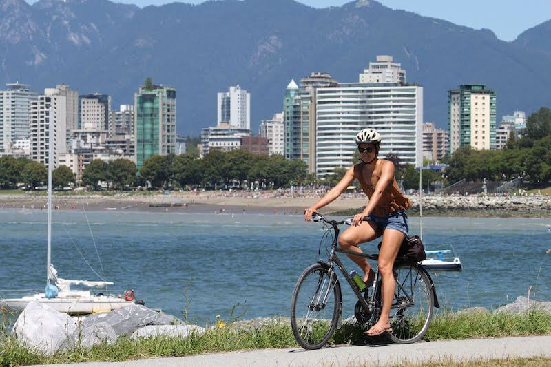 Kim riding her bike in Vancouver