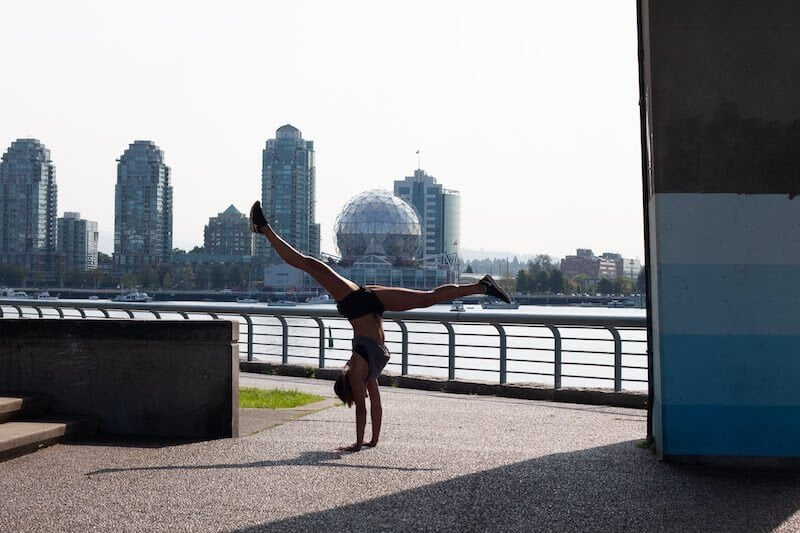 Kim doing a handstand in Vancouver