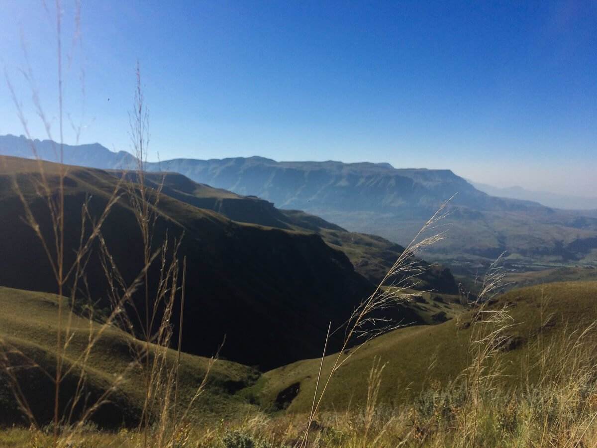 Cloudless skies while hiking in the Drakensberg Mountains