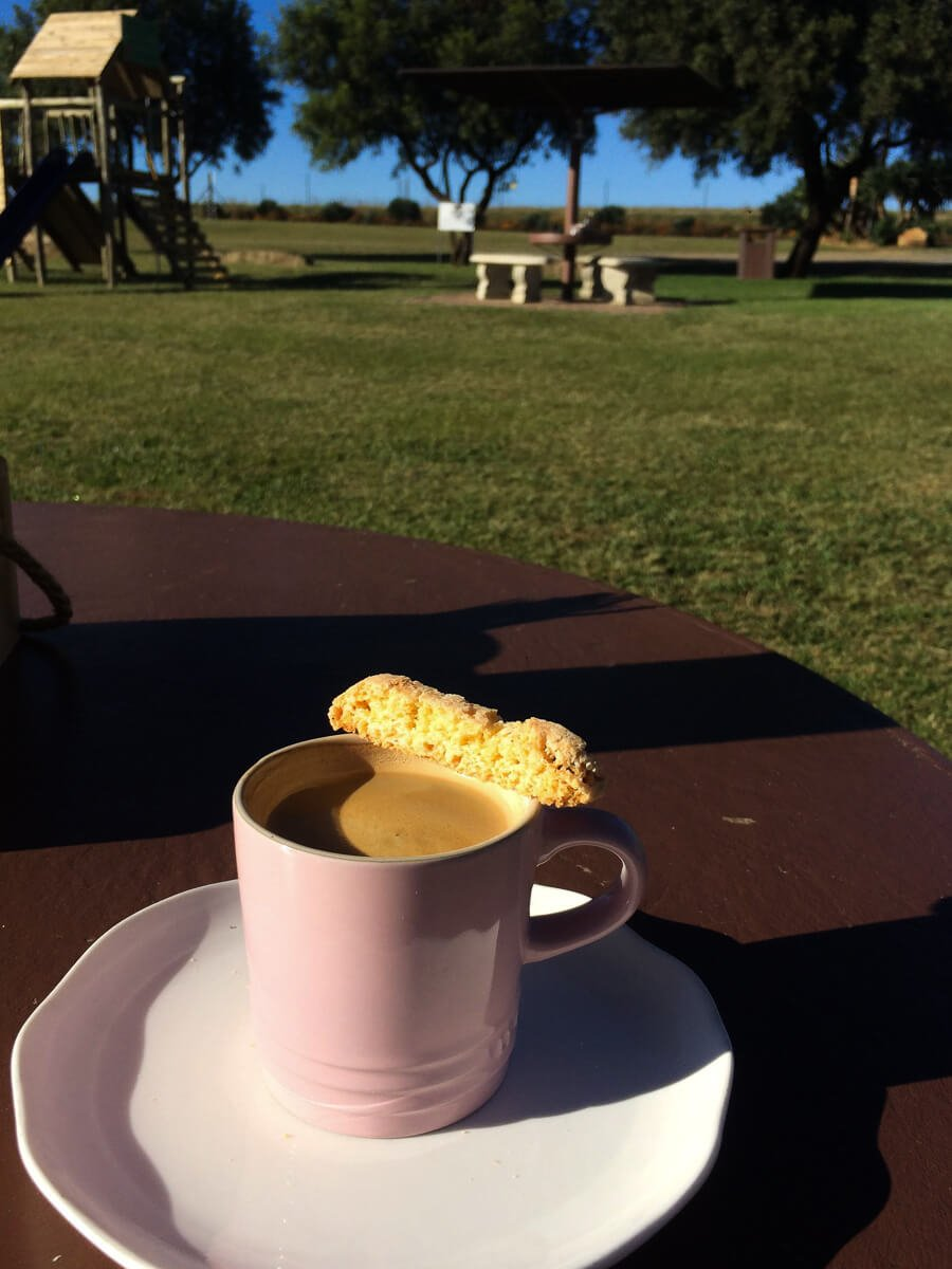 Beautiful coffee, biscotti (not rusk), and sunny skies in the Drakensberg.