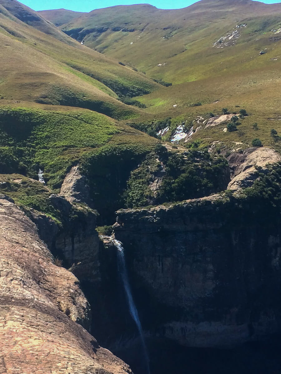 Looking Down Gudu Falls in Royal Natal Park while hiking in the Drakensberg.