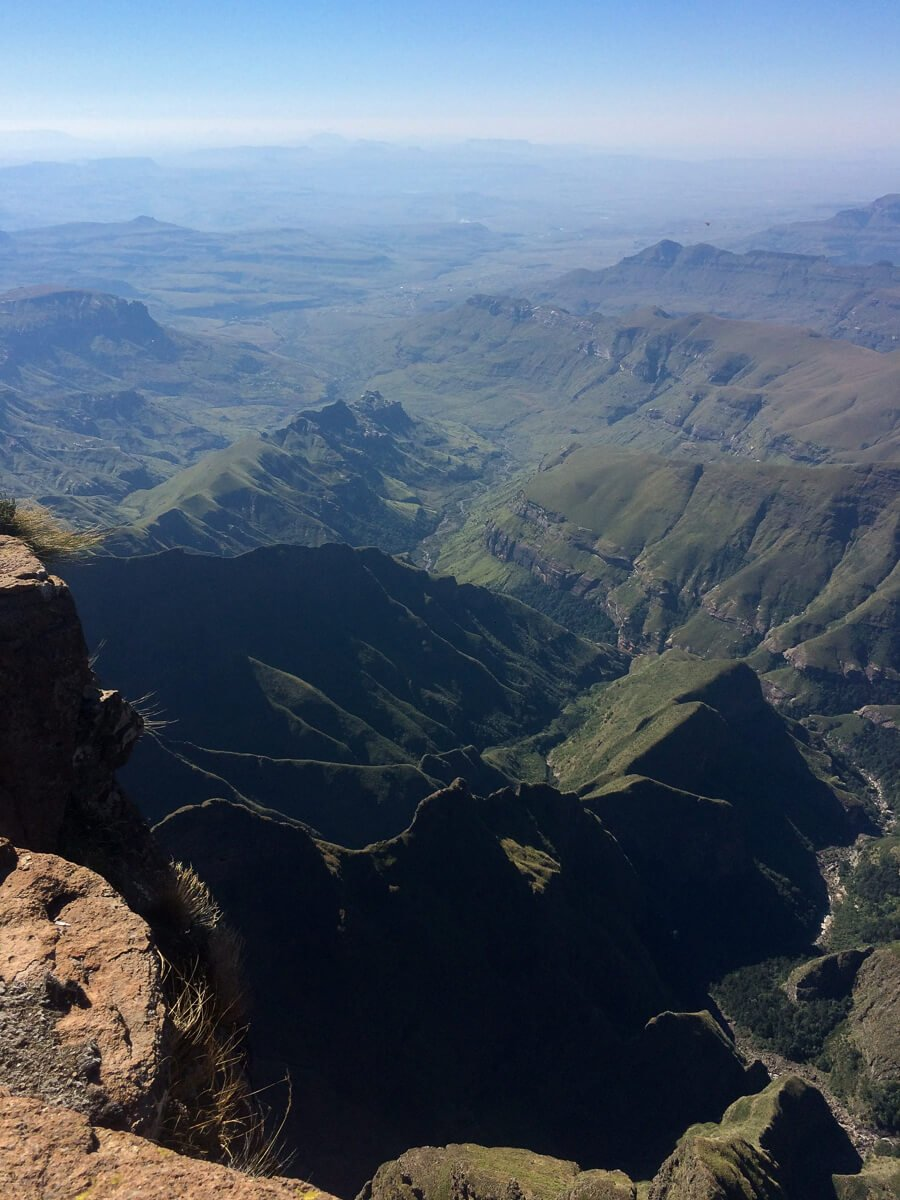 Top of the Ampitheatre hike looking down over the Drakensberg mountain range
