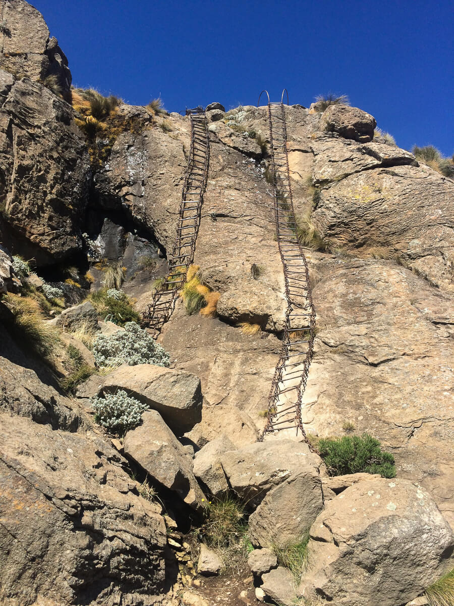 Ladders going way up to the top of the Ampitheatre in the Drakensberg mountains