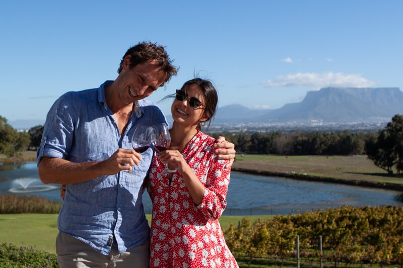 Chris and Kim living the high life at a Cape Town winery