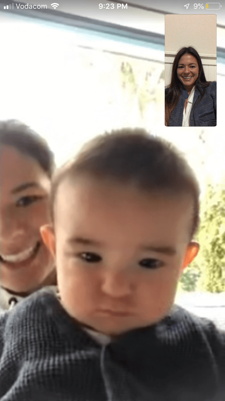 Skype screenshot of Kim talking with her sister and nephew.