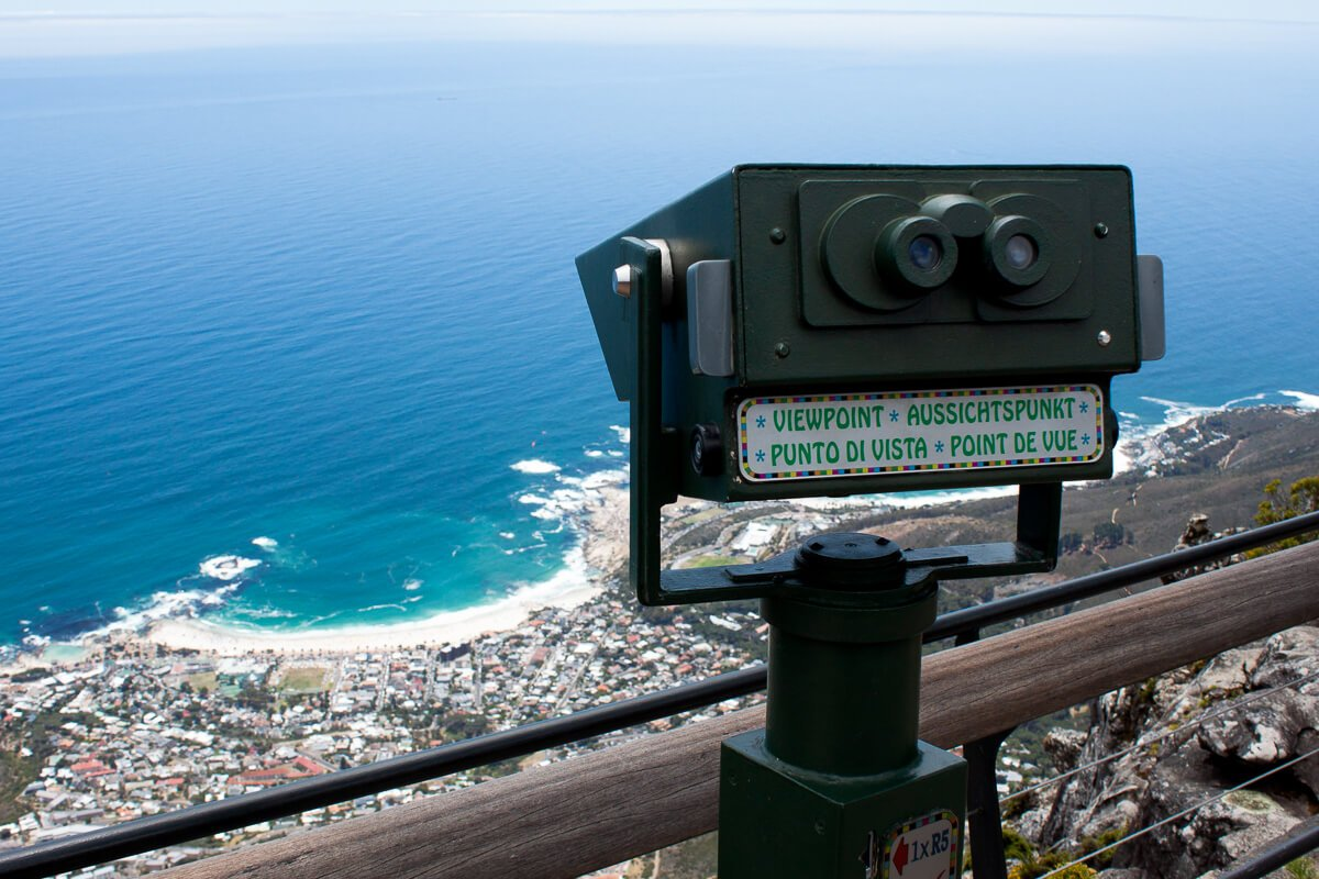 Binoculars at the top of Table Mountain