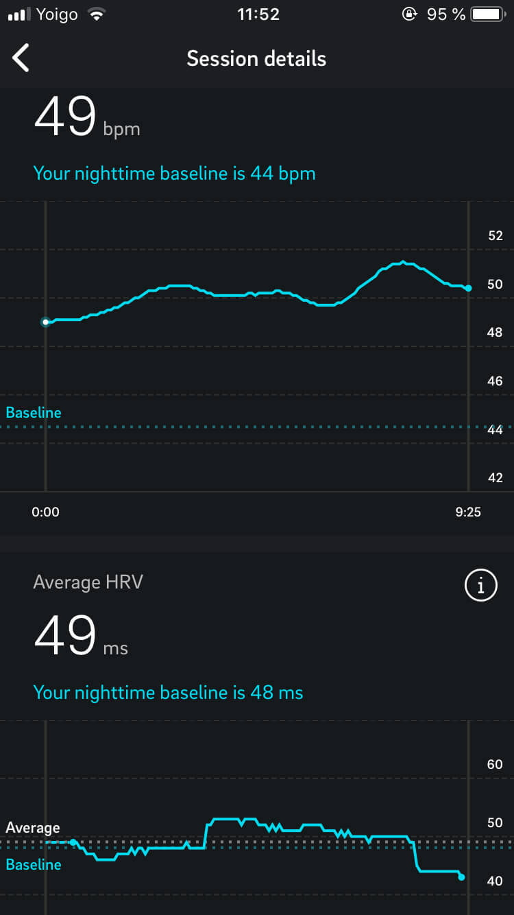 Screenshot of a Moment session from the Oura ring app