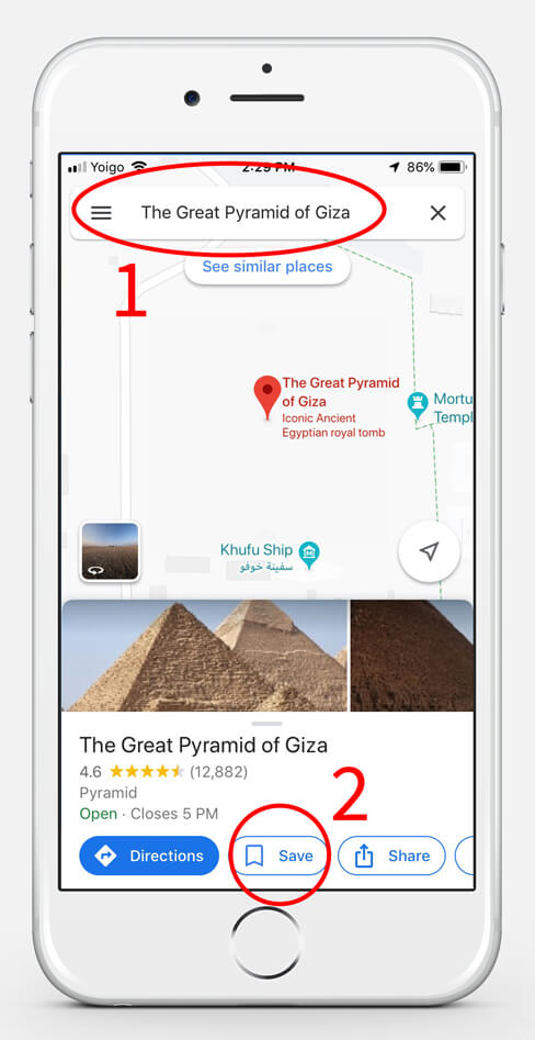How to save a location in Google Maps Step 1