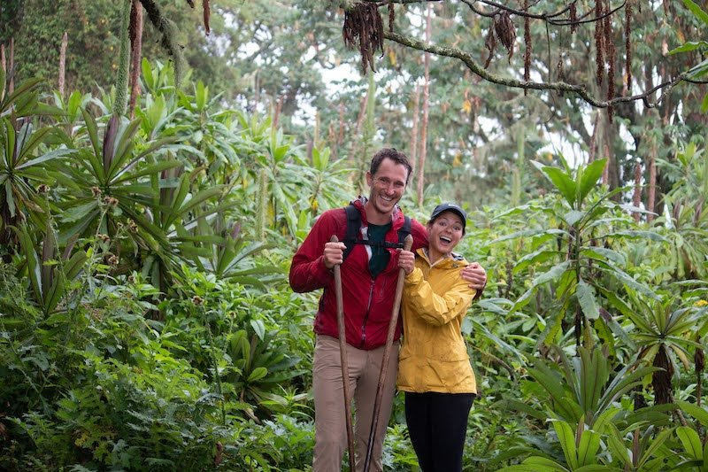 Kim and Chris visiting another new country, Rwanda