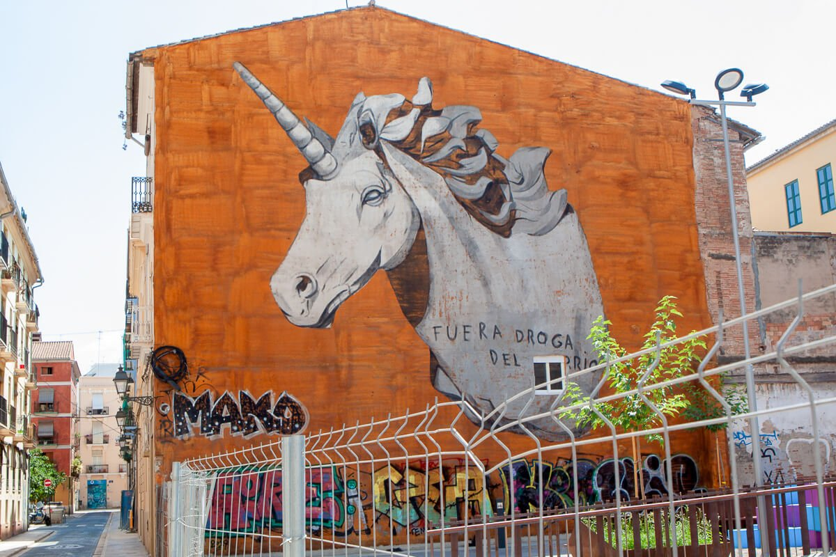 Street art unicorn in Valencia's El Carmen neighbourhood