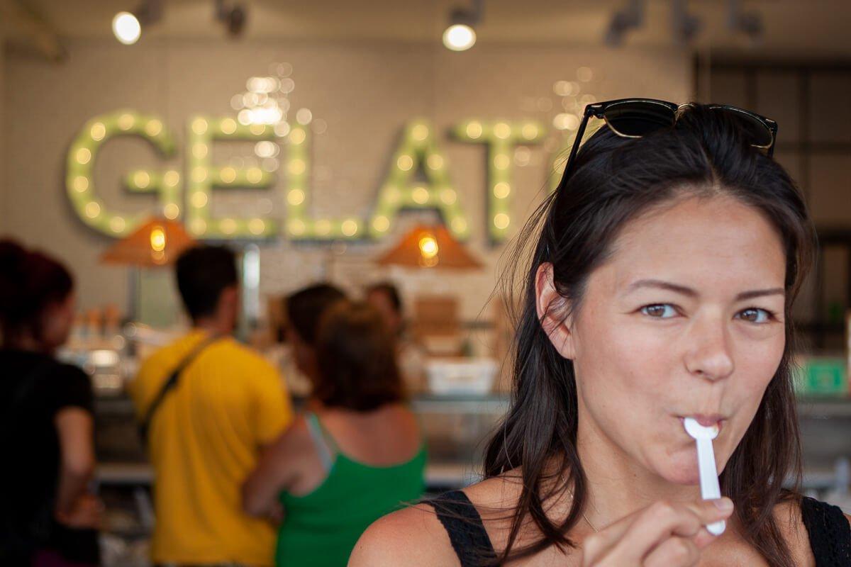 Kim eating gelato in Chipiona, Spain.