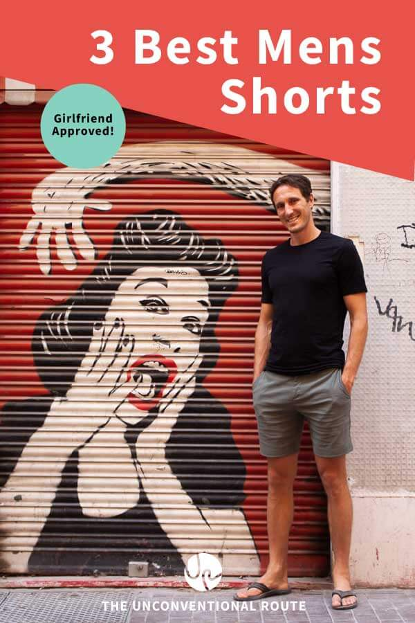 Best mens shorts for travel, sports, and style Pinterest pin.