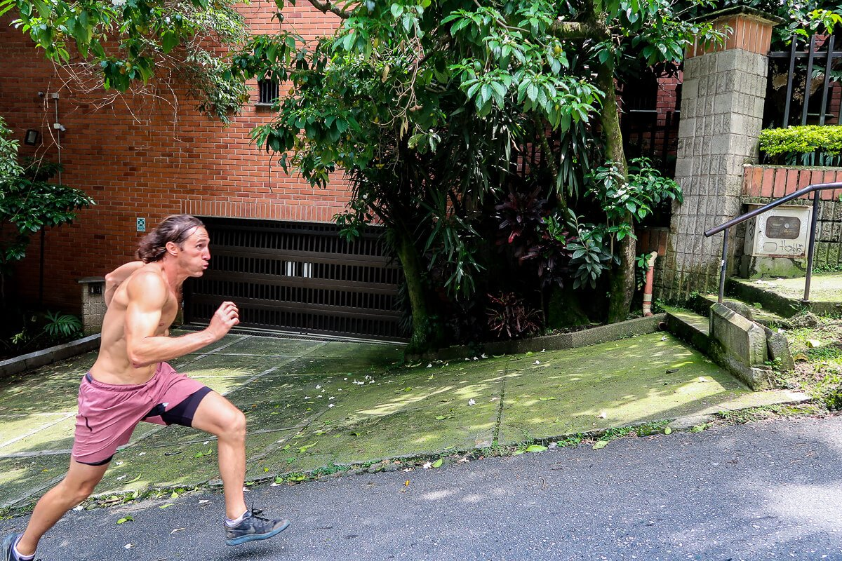 Chris doing a hill sprint in Medellin, Colombia.