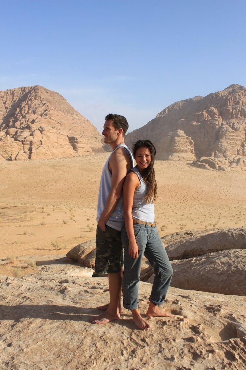 Chris and Kim back to back in Wadi Rum in Jordan