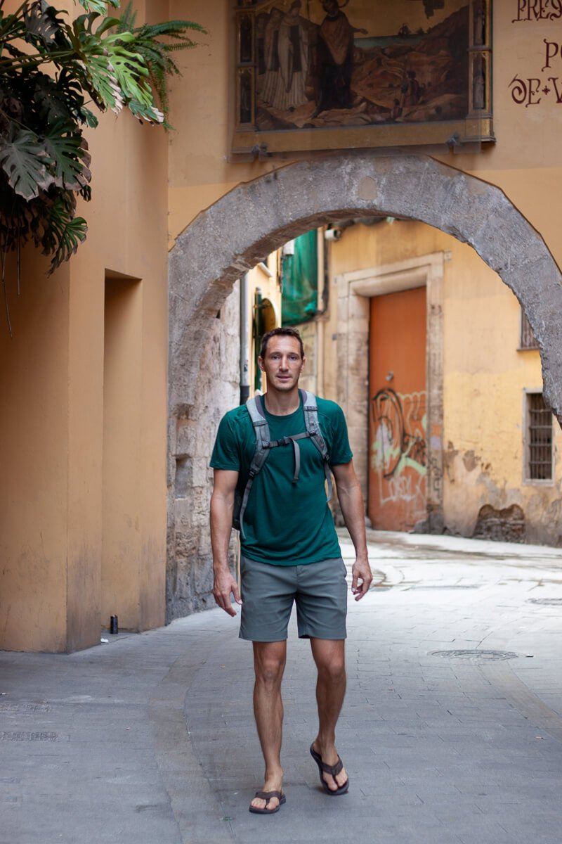 Chris ready for anything in Valencia wearing his Outlier shorts