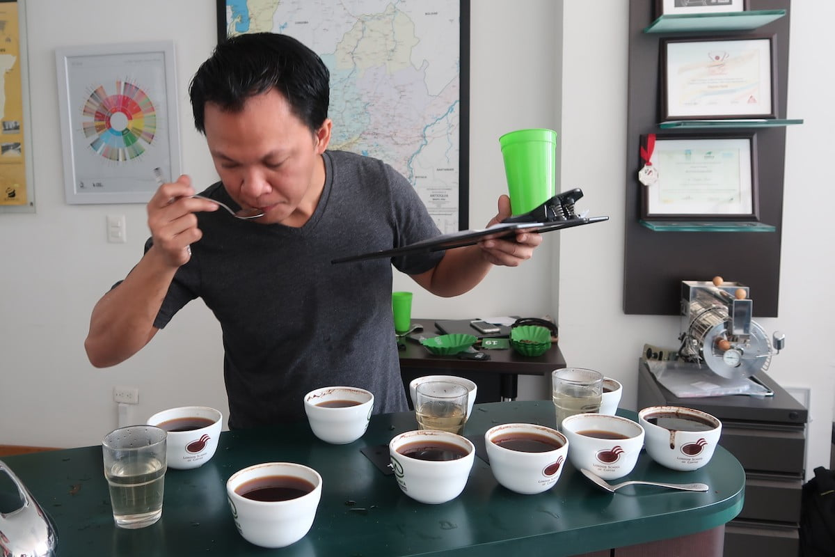 Doing a coffee blind taste test