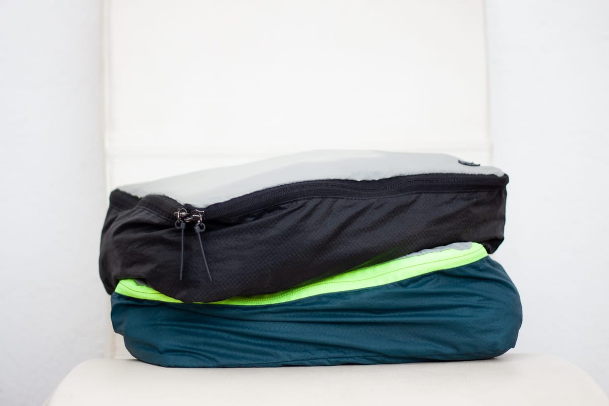 Stack of two packing cubes for clothing