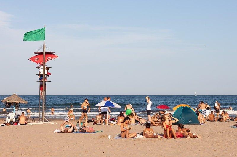 People on Valencia's beach