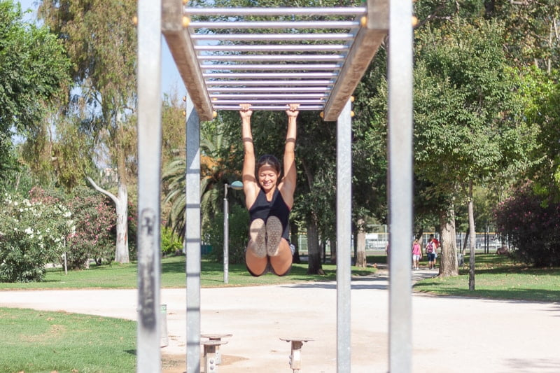 Working out in Valencia's Turia Park.