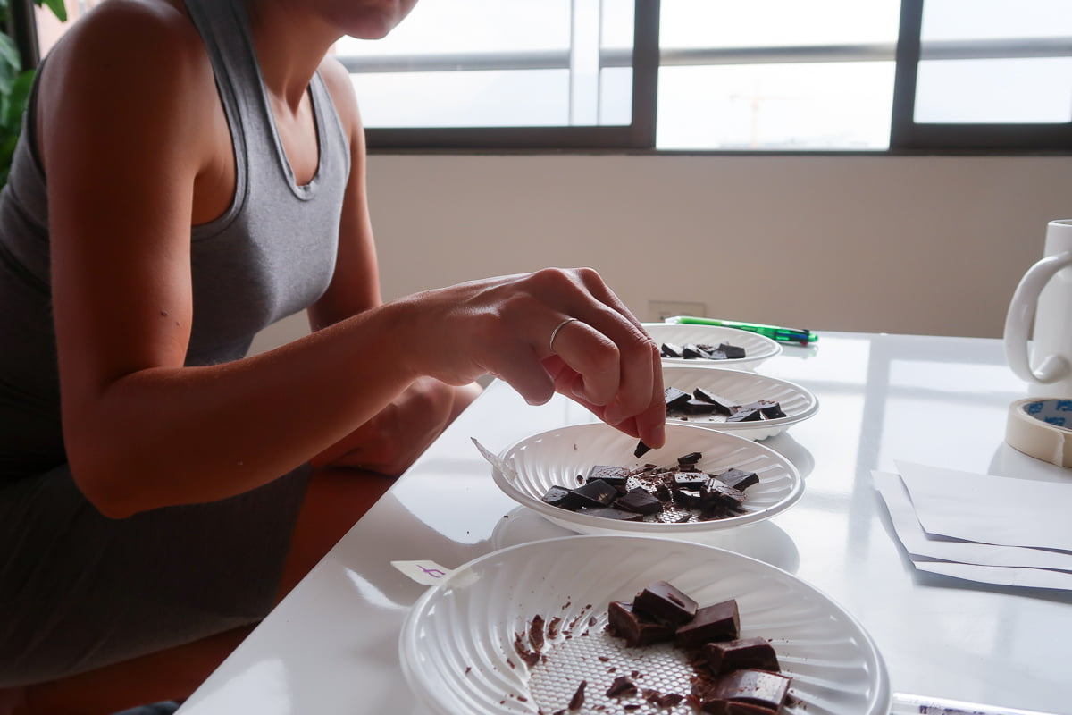 Kim digging into our chocolate taste test