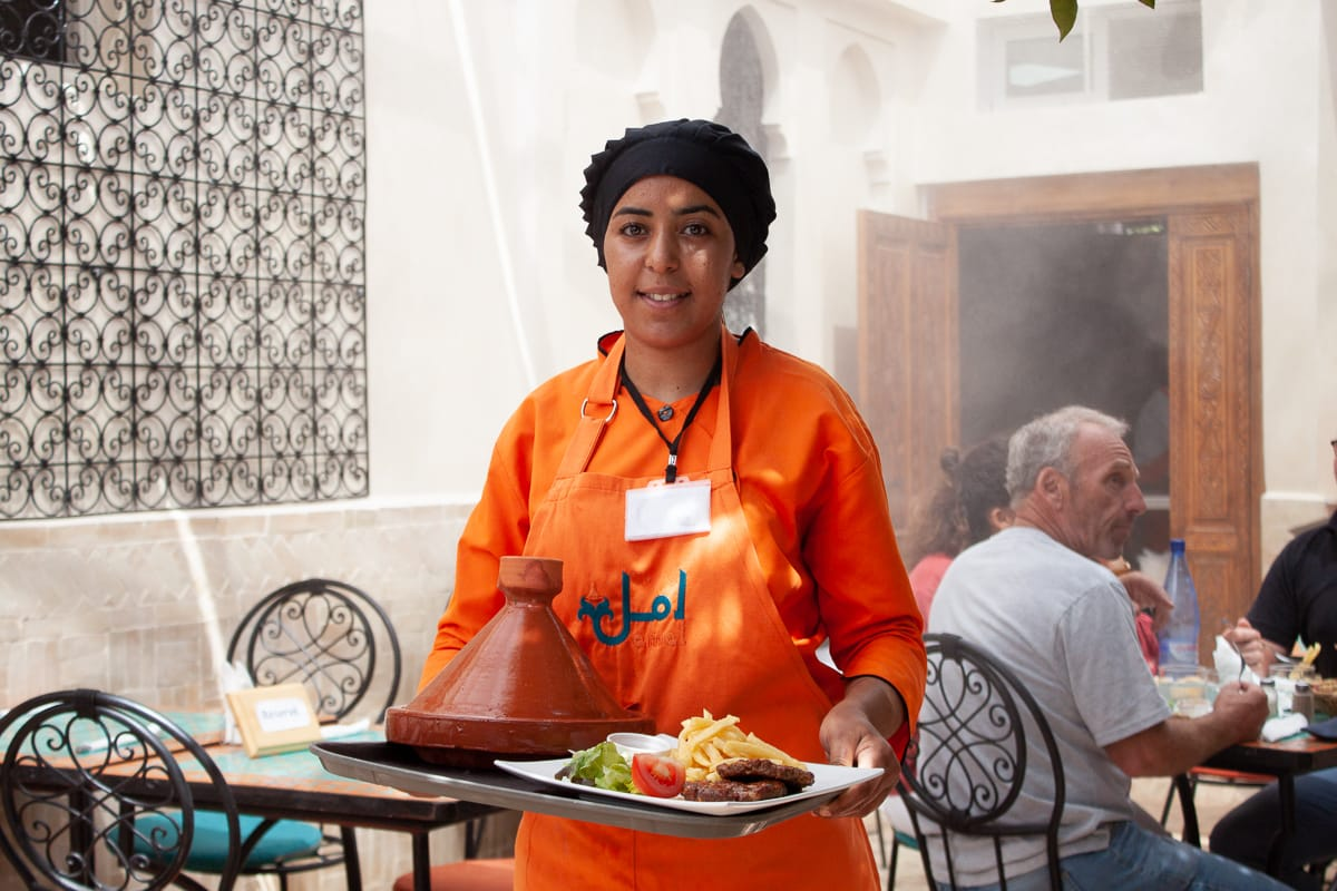 One of the lovely servers at Amal Training Centre in Gueliz, Marrakech.