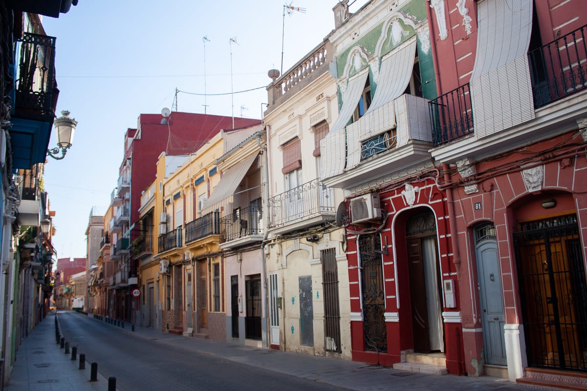 Colorful buildings in Cabanyal in Valencia