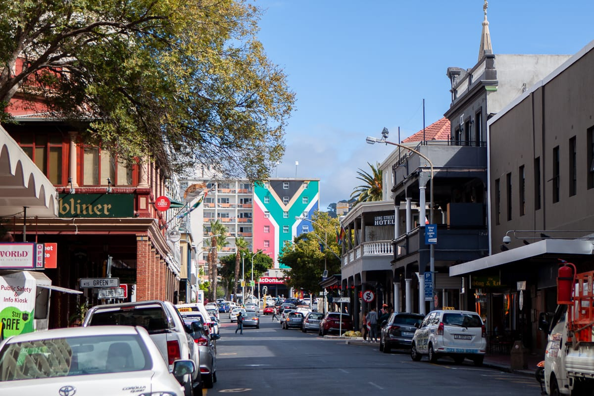 Downtown CBD street view with South African flag in the background.