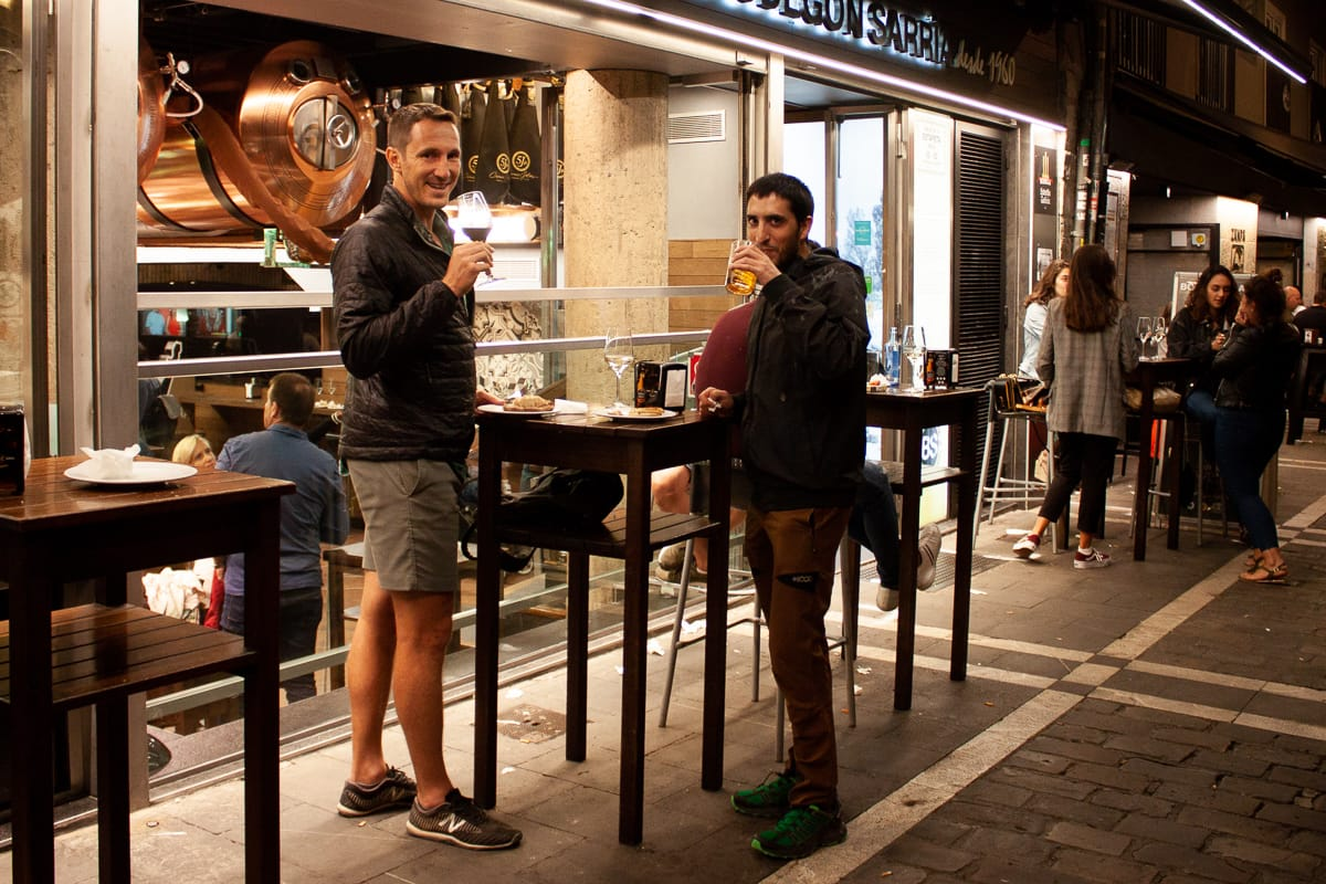 Chris and Oscar enjoying the street life in Pamplona.