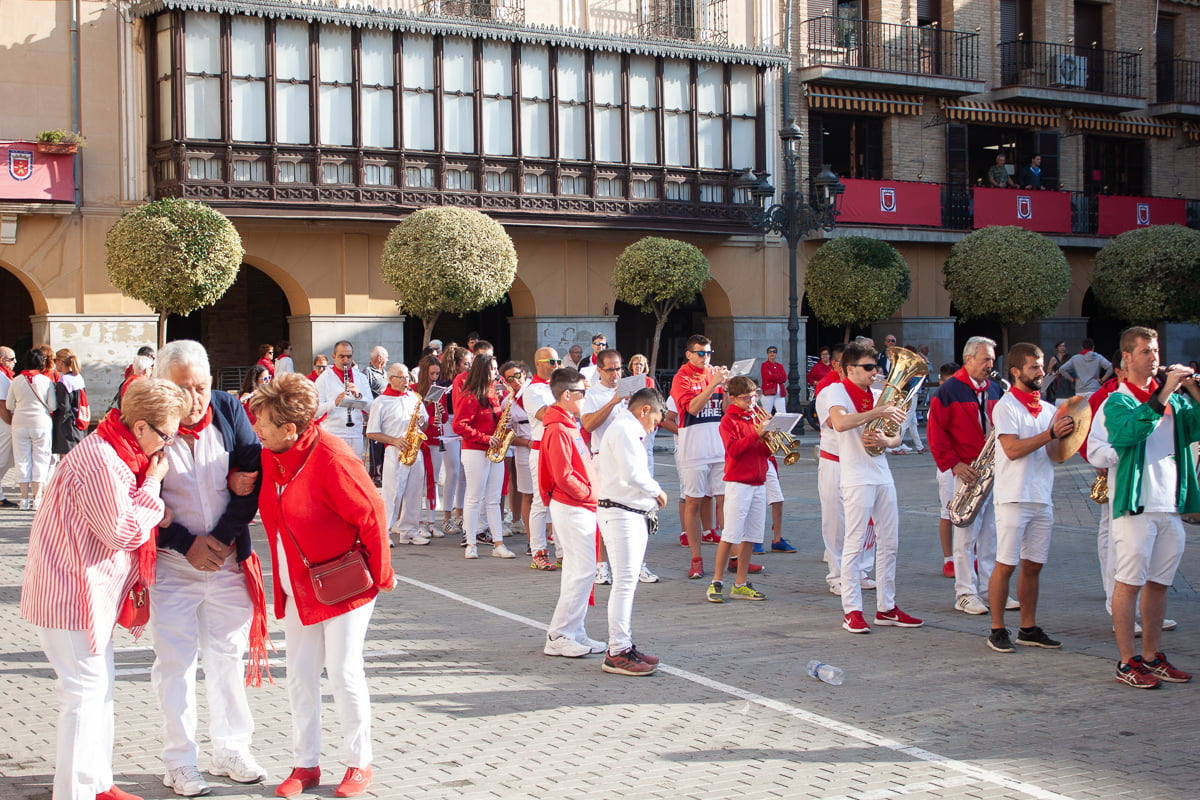 Falses traditional red and white outfits at a festival in Northern Spain