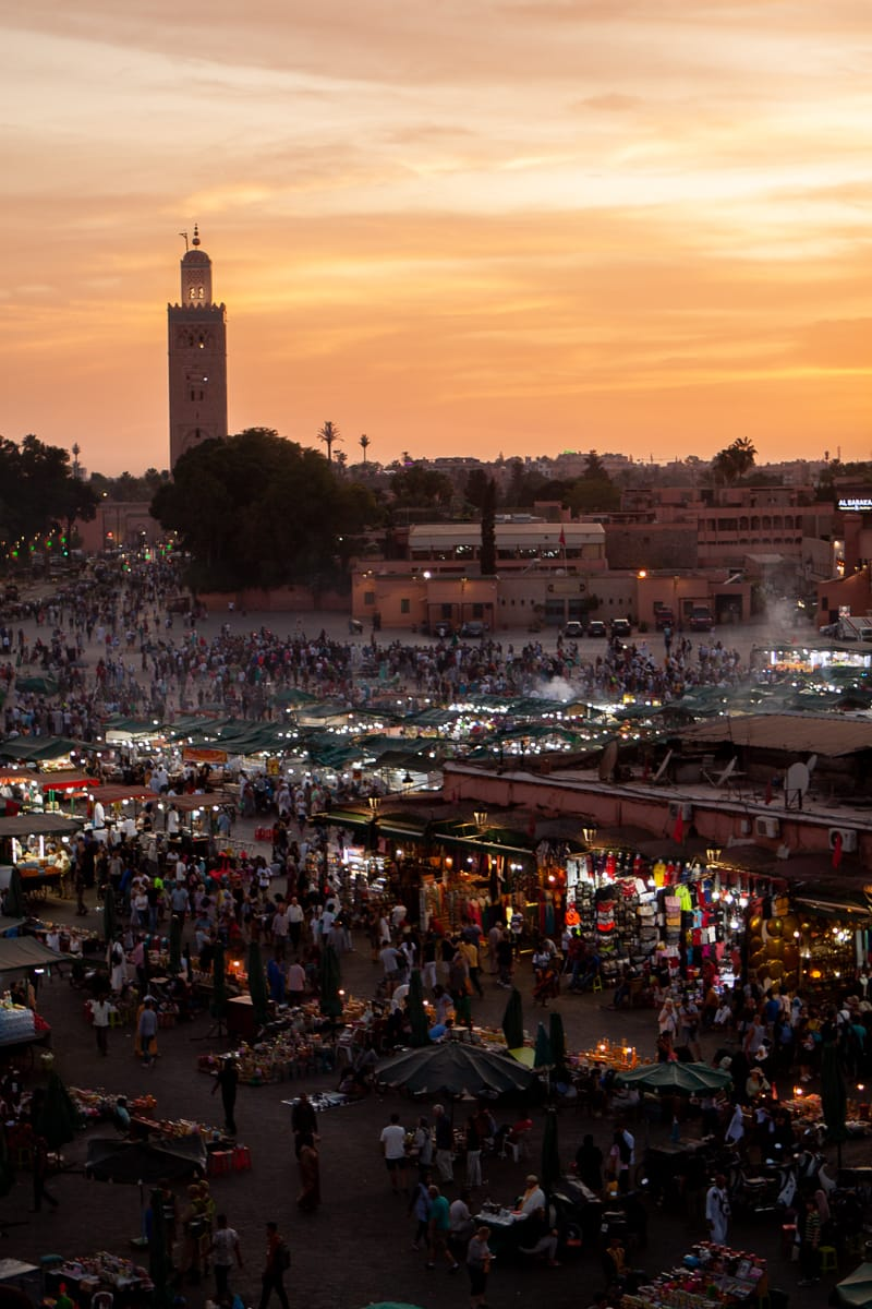 Jemaa el-Fnaa square in Marrakech at sunset.